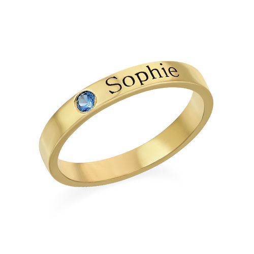 Stackable Birthstone Name Ring - 14K Yellow Gold