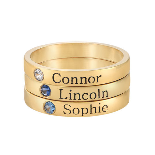 Stackable Birthstone Name Ring - 14K Yellow Gold - 2