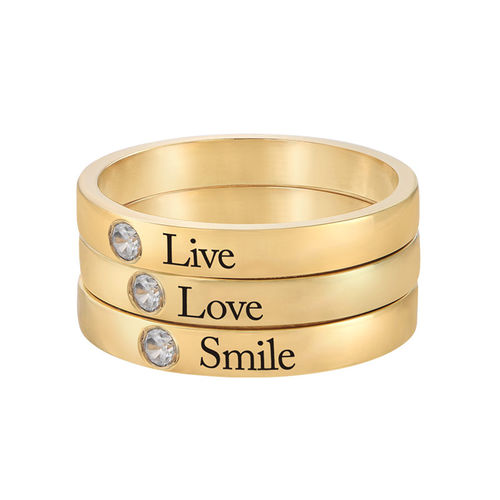 Stackable Birthstone Name Ring - 14K Yellow Gold - 3