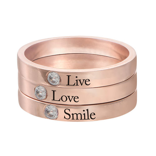 Stackable Birthstone Name Ring - 18k Rose Gold Plated - 3