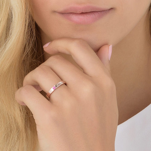 Stackable Birthstone Name Ring - 18k Rose Gold Plated - 5
