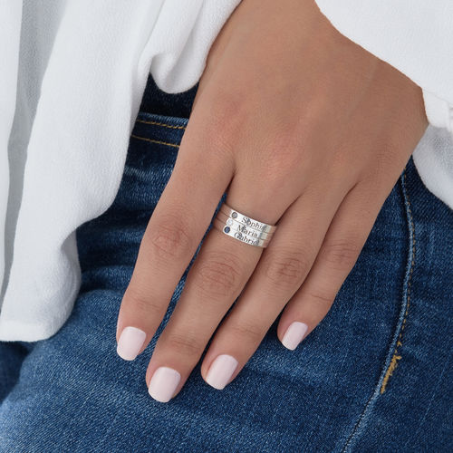 Stackable Birthstone Name Ring - 5