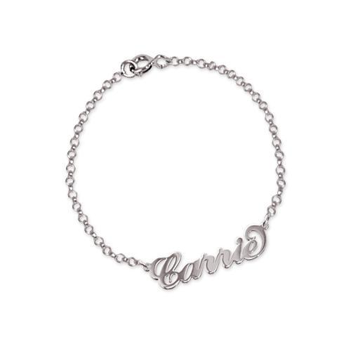 "Sterling Silver ""Carrie"" Style Name Bracelet / Anklet - 1"