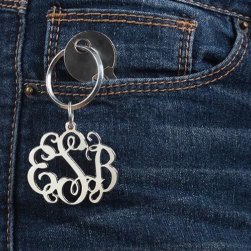 Sterling Silver Celebrity Monogram Keychain - 1