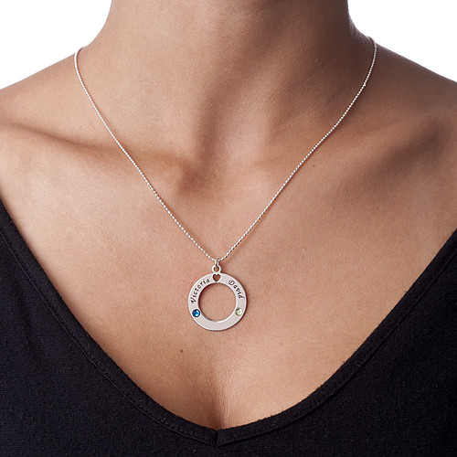 Sterling Silver Circle of Life Personalized Necklace - 1