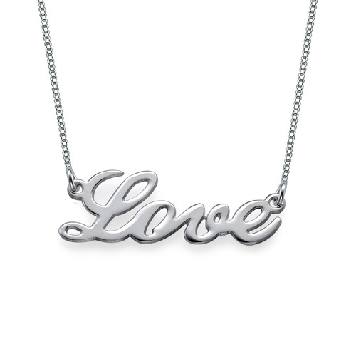 Sterling Silver Cursive LOVE Necklace