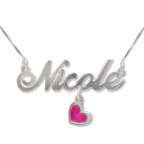 Sterling Silver Dangling Charm Name Necklace