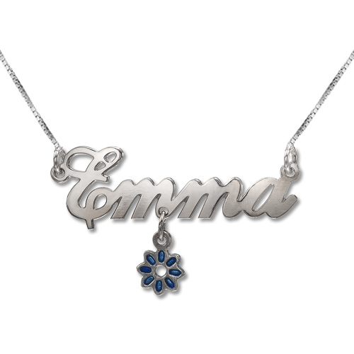 Sterling Silver Dangling Charm Name Necklace - 2
