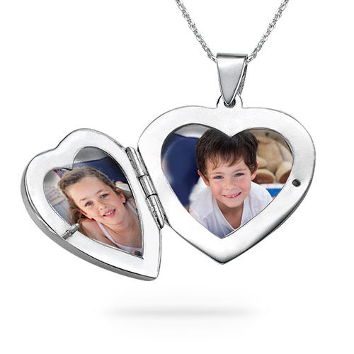 Sterling Silver Engraved Heart Locket Necklace - 2