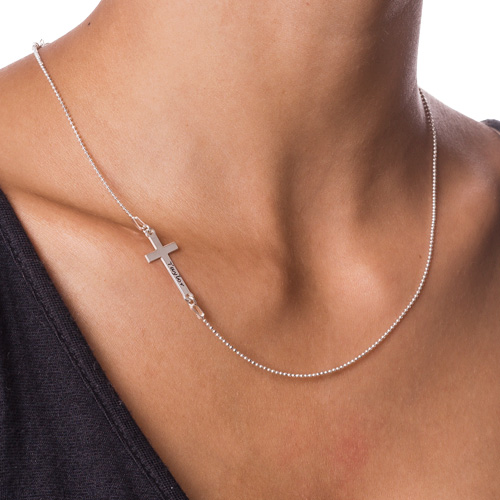 Sterling Silver Engraved Side Cross Necklace - 1