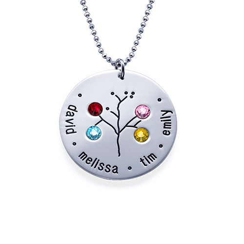 Sterling Silver Family Tree Necklace for Grandma - 4