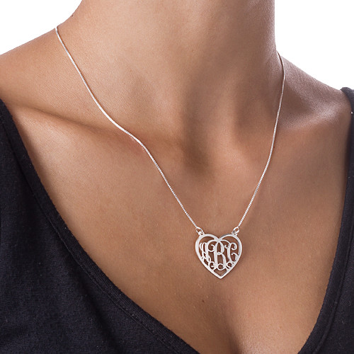 Sterling Silver Heart Initial Necklace Monogram - 1