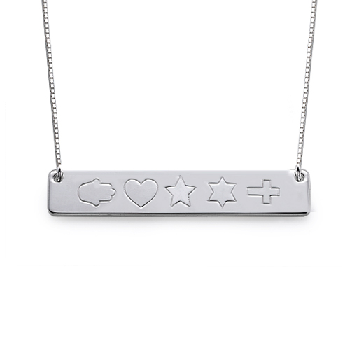 Sterling Silver Icon Bar Necklace - 1