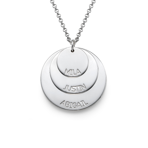 Sterling Silver Mom Necklace with Kid's Names