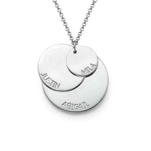Sterling Silver Mom Necklace with Kid's Names - 1