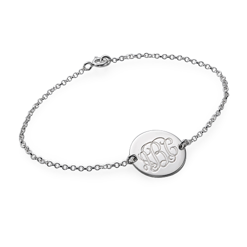 Sterling Silver Monogram Disc Bracelet