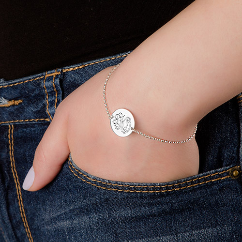 Sterling Silver Monogram Disc Bracelet - 2