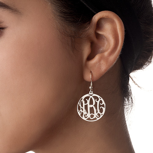 Sterling Silver Monogram Earrings Set - 1