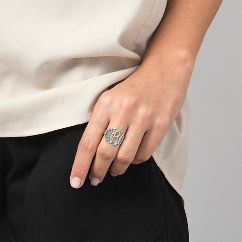Sterling Silver Monogram Ring - 1
