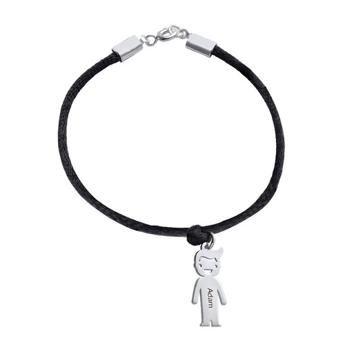Sterling Silver Mother's Bracelet with Engraved Children Charms - 1
