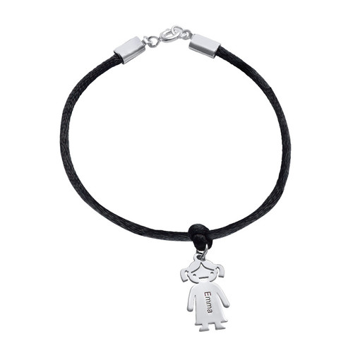 Sterling Silver Mother's Bracelet with Engraved Children Charms - 2