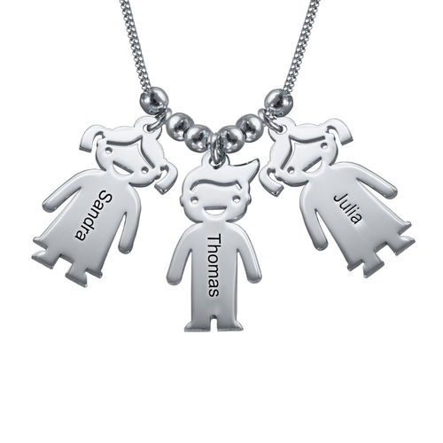 Sterling Silver Mother's Necklace with Engraved Children Charms - 1