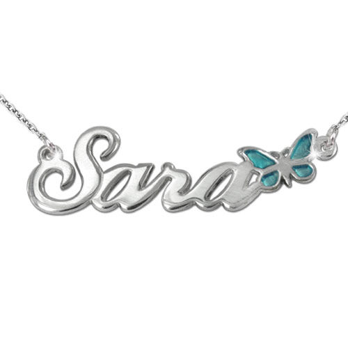 Sterling Silver Name Necklace with Color Charm - 1