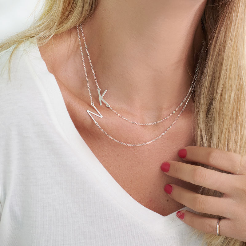 Sterling Silver Sideways Initial Necklace - 2