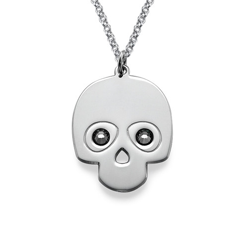 Sterling Silver Skull Necklace with Crystal Stones