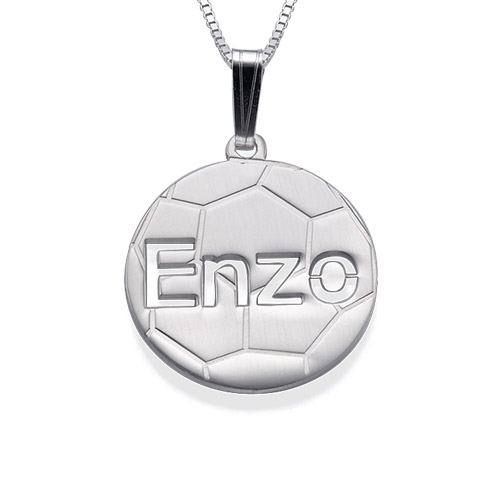 Sterling Silver Personalized Soccer Pendant