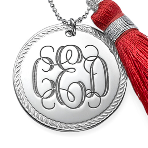 Tassel Jewelry - Silver Engraved Monogram Necklace - 1