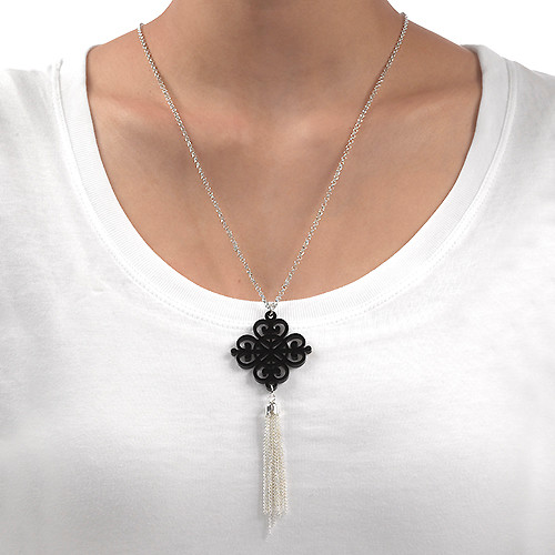 Tassel Necklace with Acrylic Design - 1