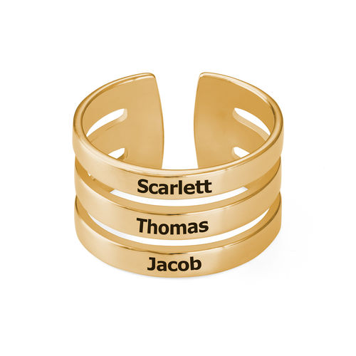 Three Name Ring with Gold Plating - 1