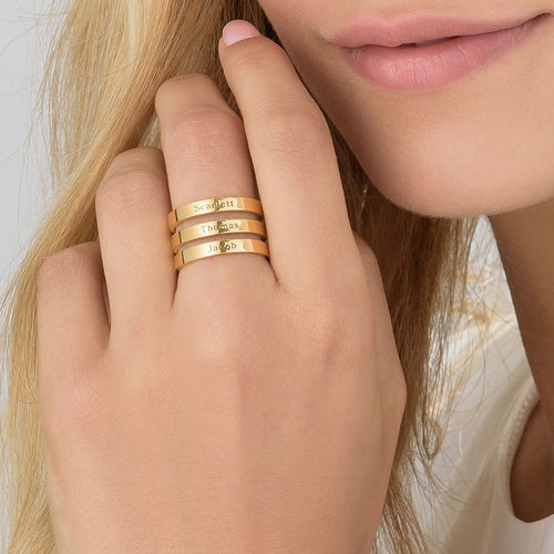 Three Name Ring with Gold Plating - 4
