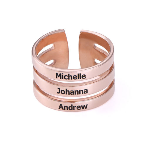 Three Names Ring in Rose Gold Plating - 1