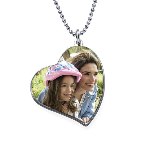 Tilted Heart Photo pendant in Silver