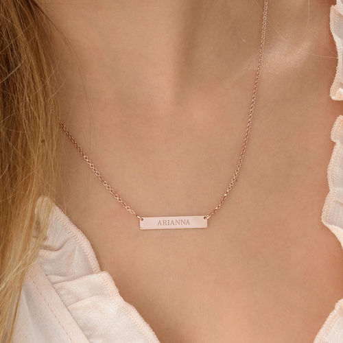 Tiny 18k Plated Rose Gold Bar Necklace with Engraving - 2