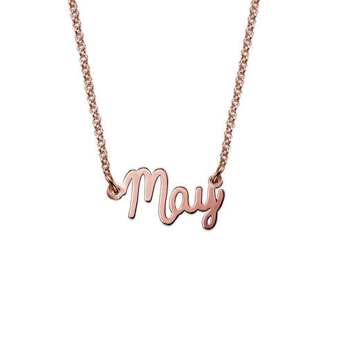 Tiny Cursive Name Necklace in Rose Gold Plating