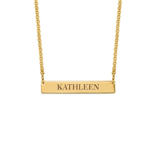 Tiny Engraved Bar Necklace in 18k Gold Plating