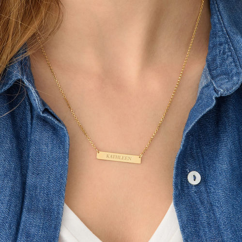 Tiny Engraved Bar Necklace in 18k Gold Plating - 2