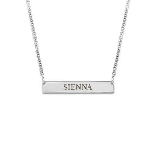 Tiny Silver Engraved Bar Necklace