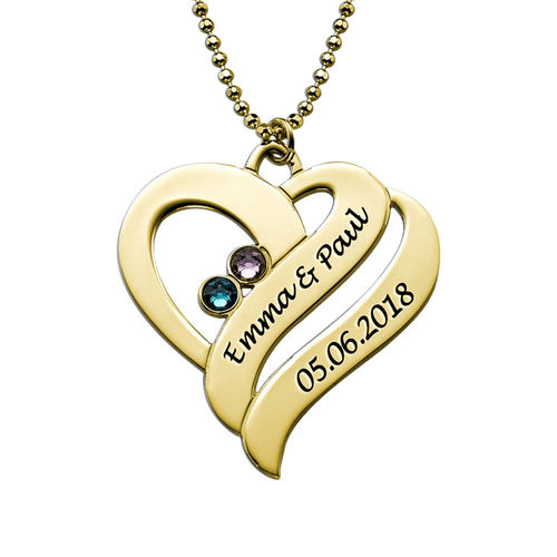 Two Hearts Forever One Necklace - 18k Gold Plated - 1
