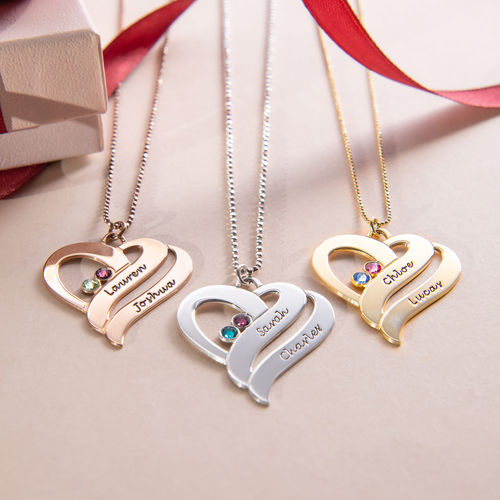 Two Hearts Forever One Necklace with Birthstones - 2