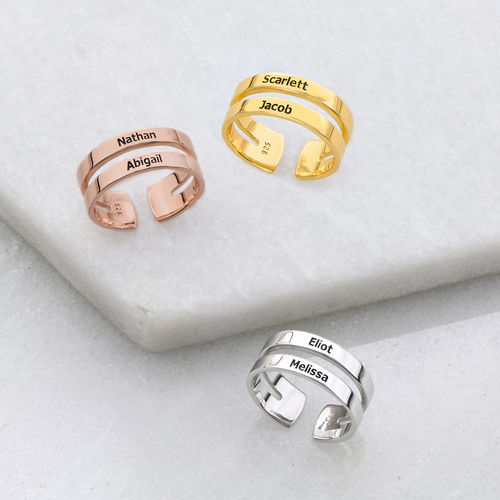 Two Name Ring in Silver - 2