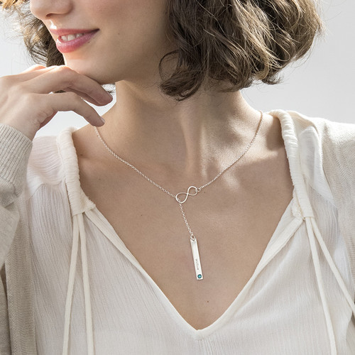 Vertical Bar Necklace with Infinity Charm - 2