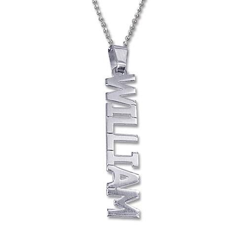 Vertical Design Silver Name Necklace