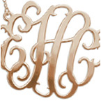 XXL Large Monogram Necklace in 18K Rose Gold Plated Silver