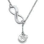 Y Shaped Infinity & Birthstone Necklace with Initial