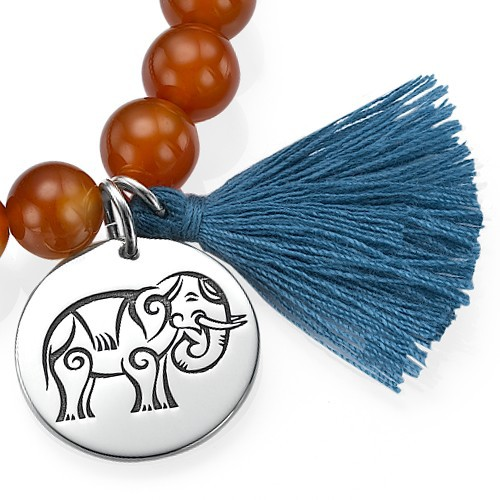 Yoga Jewelry - Engraved Elephant Bead Bracelet - 1