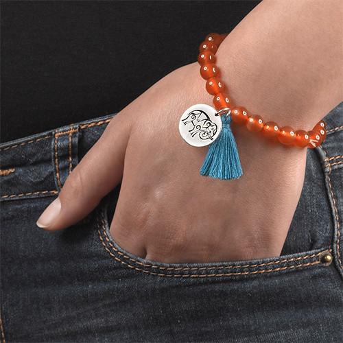 Yoga Jewelry - Engraved Elephant Bead Bracelet - 5